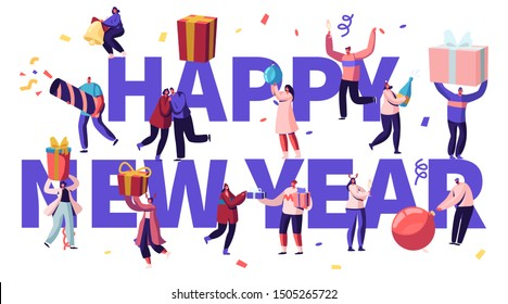 Happy New Year Celebration Concept. Tiny Male and Female Characters with Huge Gifts and Festive Decoration, Christmas Season Holidays Poster Banner Flyer Brochure. Cartoon Flat Vector Illustration