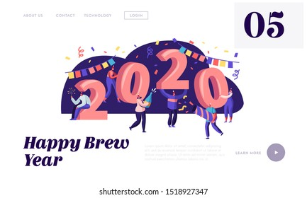 Happy New Year Celebration Concept Website Landing Page. Tiny People Having Fun and Giving Gifts at Huge 2020 Numbers. Congratulations, Invitation Web Page Banner. Cartoon Flat Vector Illustration