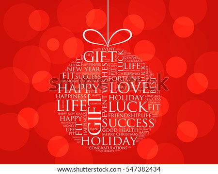 happy new year celebration greeting card christmas ball word cloud holidays lettering collage
