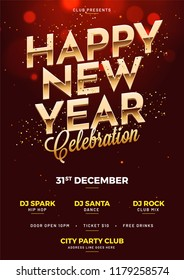 Happy New Year Celebration template or flyer design with date, time and venue details.