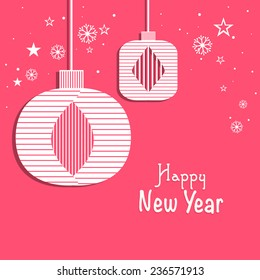 Happy New Year celebrations greeting card design with stylish hangings on snowflakes and star decorated pink background.