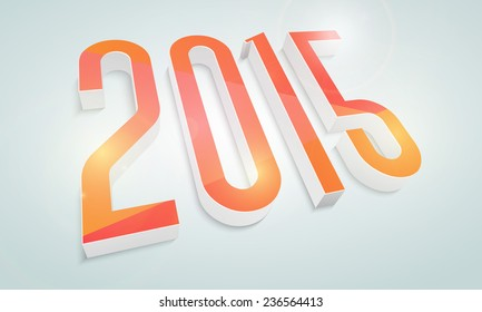 Happy New Year celebrations poster or banner design with shiny 3D text 2015 on blue background.