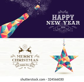 Happy New Year champagne and Merry Christmas shooting star in hipster triangle shapes. Useful as holiday banners or greeting card designs. EPS10 vector.