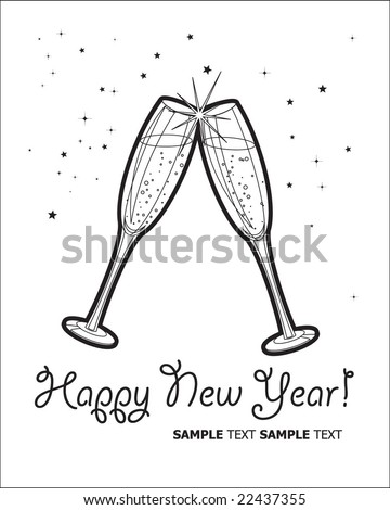 Happy New Year Champagne Toast Stock Vector (Royalty Free) 22437355 ...