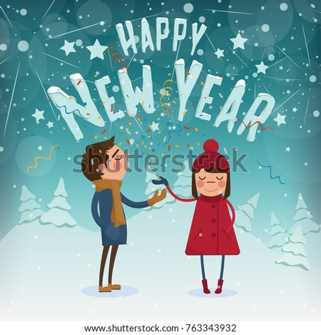 happy new year characters couple