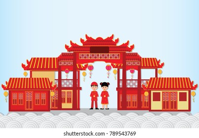 Happy New Year in China Town with chinese boy and girl ,happy chinese new year paper art and craft style vector illustration.