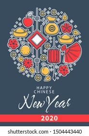 Happy new year, Chinese elements, lanterns and fan, luck and wealth symbols on greeting card vector. Gold lucky coins and money sack, flowers and fruits. Peach and apple, lemon, oriental holiday