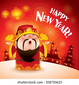 Happy New Year! Chinese God of Wealth. Translation: Good fortune.