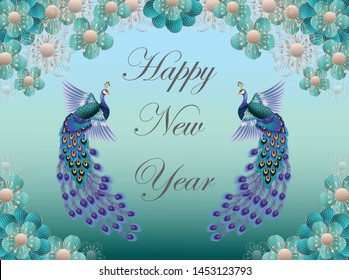 Happy New Year with Chinese peacocks and flowers With beautiful frames