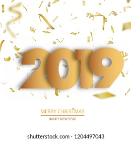 Happy New Year or Christmas background with gold confetti. 2019. Vector.