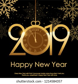 Happy New Year or Christmas background with snow or gold text. Vector.