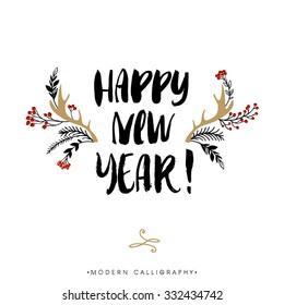 Happy New Year. Christmas calligraphy. Handwritten modern brush lettering. Hand drawn design elements.