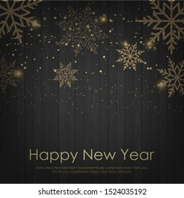Happy New Year or Christmas card with falling golden snowflakes. Vector.