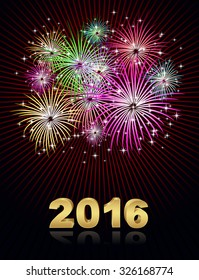 happy new year christmas fireworks background 2016