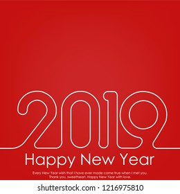 Happy New Year or Christmas greeting card with line text. 2019 Vector