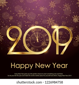 Happy New Year or Christmas greeting card with gold clock. Vector.