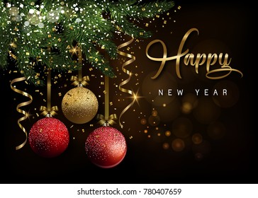 Happy New Year. Christmas greeting card, design of xmas Xmas with shining red and golden balls on dark background with golden serpentine and  glitter confetti.