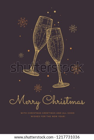 happy new year and christmas greeting card template with festive glasses of champagne drawn