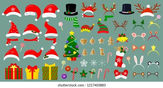 Happy New Year and Christmas. Mega set of Santa hats and other hats on the head. More than sixty Christmas items for your design. Vector.