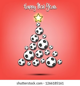 Happy new year. Christmas tree from soccer balls. Football themed Christmas tree. Pattern for banner, poster, greeting card, party invitation. Vector illustration