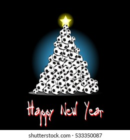 Happy new year and Christmas tree from soccer balls on a black background. Vector illustration