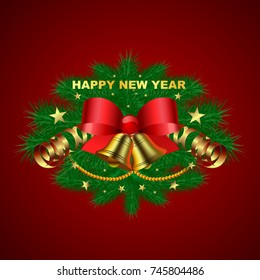 Happy New Year. Christmas tree garland with golden bells, serpentine and red bows with stars on a red background. Festive design.