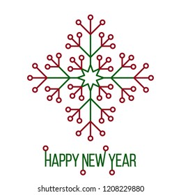 happy new year with circuit style snowflake