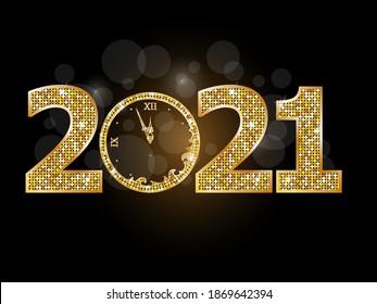 Happy new year clock 2021