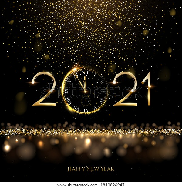 Happy new year clock countdown background. Gold glitter shining in light with sparkles abstract celebration. Greeting festive card vector illustration. Merry holiday poster or wallpaper design.