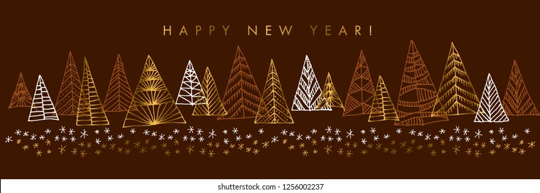 Happy New Year color vector banner template. Golden gradient lettering with firs silhouettes. Sketch golden, white, brown spruce trees with snow. Xmas hand drawn party invitation, poster design