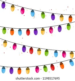 Happy new year. Colorful Christmas light bulb background and pattern