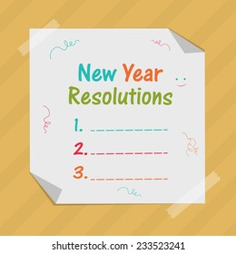 Happy New Year concept with blank list of resolution on ribbon decorated white sheet pasted on stylish background.