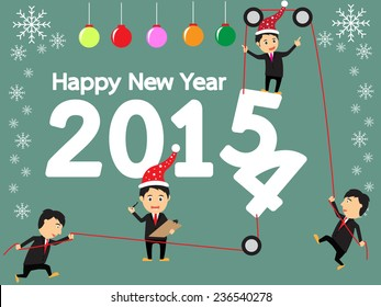happy new year concept, businessman change the number 2014 are 2015, vector illustration
