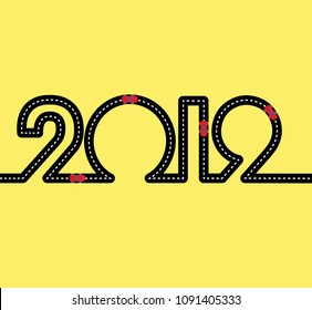 Happy New Year Concept - road in the shape of figures 2019. With red toy sport cars on highway. Simple vector clip art for car service or shop. Sign for greeting card or poster.