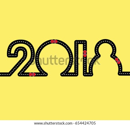 happy new year concept road in the shape of figures 2018 with red toy