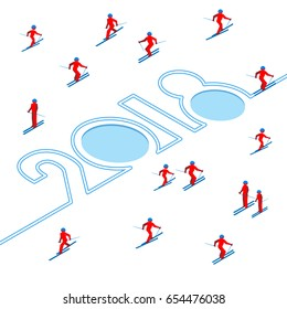 Happy New Year concept - skier has left a trace in the form of numbers 2018. With lot of people skiing around. Athlete write digits on snow - vector image clip art. Isometric 3D on white background.