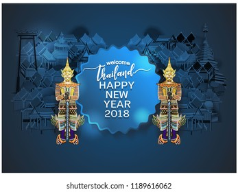happy New Year concept vector illustration of Info graphic elements for traveling to Thailand, concept Travel to Thailand. Info graphic Element / icon / Symbol , Vector Design travel Thailand