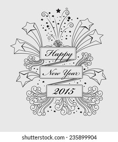 Happy New Year congratulate in rectangle space with line drawing , vector background