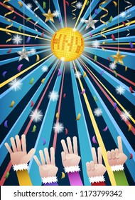 Happy new year countdown disco party with hands in colorful suits counting number from five to one, under gold HNY mirror ball, hanging gold, silver ribbons, stars and colorful confetti