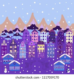 Happy new year. Cute buildings on neutral, violet and blue colors. Merry christmas card with house. Vector illustration.