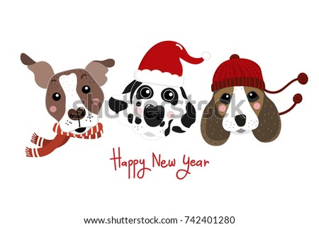Happy New Year Cute Dog Stock Vector (Royalty Free) 742401280 ...