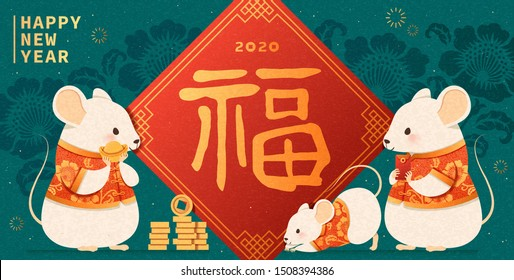Happy new year with cute white mouse and fortune calligraphy written in Chinese words on spring couplet, turquoise background