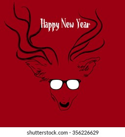 Happy New Year. Deer in glasses. Background.