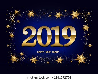 happy new year design layout on dark blue background with 2019 and gold stas vector
