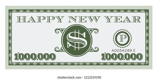 Happy New Year Dollar Bill Vector Design