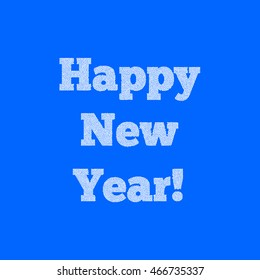 Happy New Year. Dotted lettering on blue background.