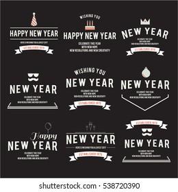 Happy new year emblem theme set