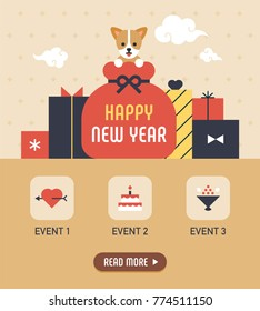 happy new year event web page concept  vector illustration flat design