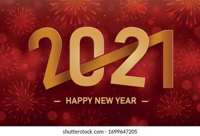 Motif de fête de Joyeuses Nouvel An 2021 avec concept de feux d'artifice sur fond couleur pour carte d'invitation, Joyeux Noël, Bonne année 2021, cartes de voeux, affiche ou bannière Web