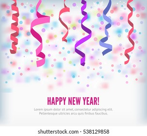 Happy New Year festive streamers celebration background. Streamers and curved swirl paper ribbon. Isolated streamers and confetti of party popper. Vector streamers and confetti background.